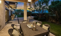 outdoor dining area twilight close up