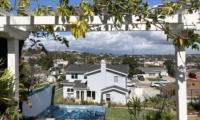 backyard trellis spa view